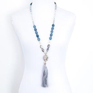 LOFT Necklace Long Tassel Natural Stone